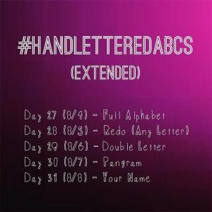 handletteredABCs extended challenge