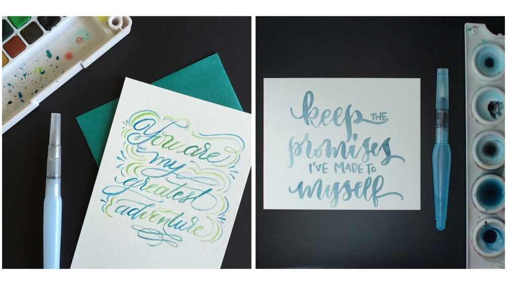 Photo (left) by: Younghae Chung (@logos_calligraphy); Photo (right) by: Jessie Chen (@inkerellacards)