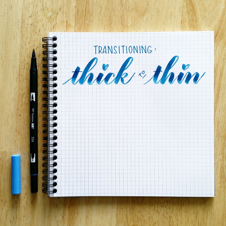 transitioning thick to thin brush calligraphy strokes