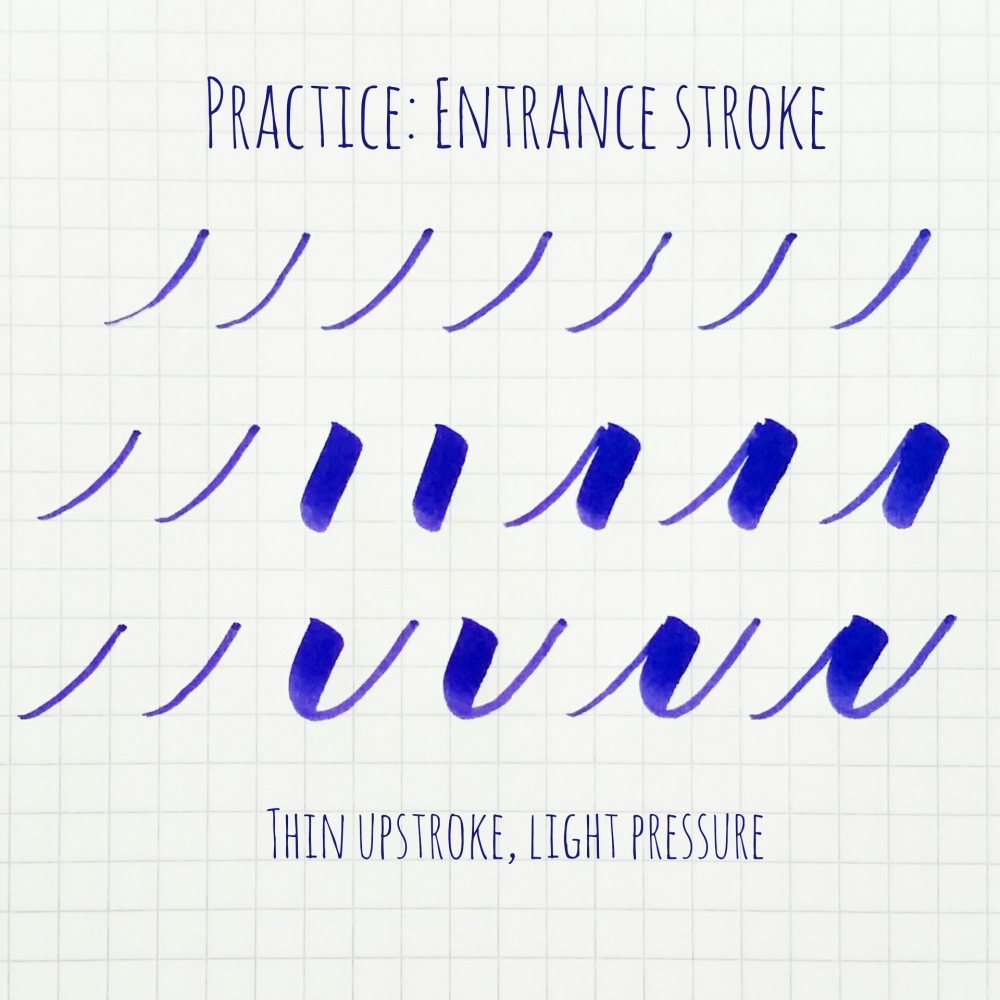 Basic brush calligraphy strokes the entrance exit stroke