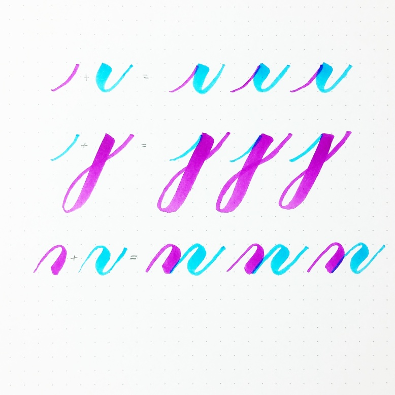 improve letters two different color brush pens