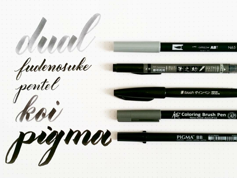 comparison of five calligraphy brush pens